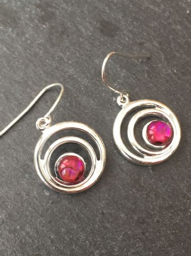 Paua Red Earrings - Small Double Swirl Circle PE17-SC